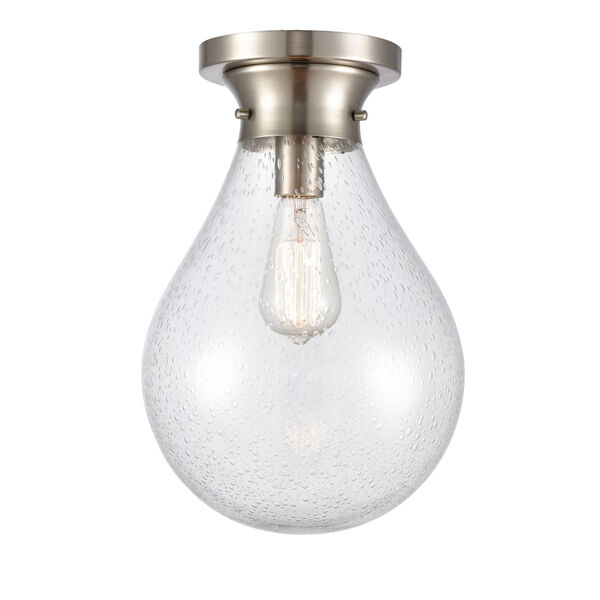 Genesis Satin Nickel 10-Inch One-Light Flush Mount with Seedy Glass Shade, image 1