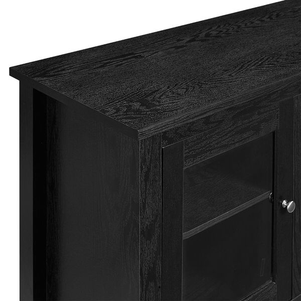 58-inch Black Wood Fireplace TV Stand with Doors, image 2