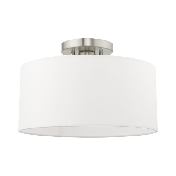 Clark Brushed Nickel 13-Inch One-Light Ceiling Mount with Hand Crafted Off-White Hardback Shade, image 2