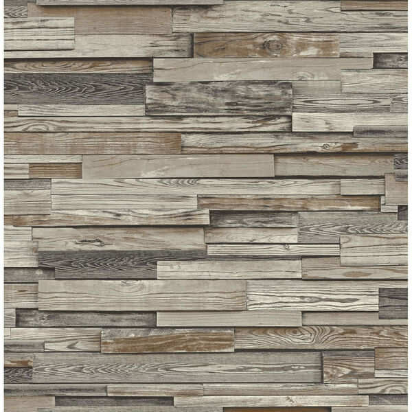 NextWall Brown Reclaimed Wood Plank Peel and Stick Wallpaper, image 2
