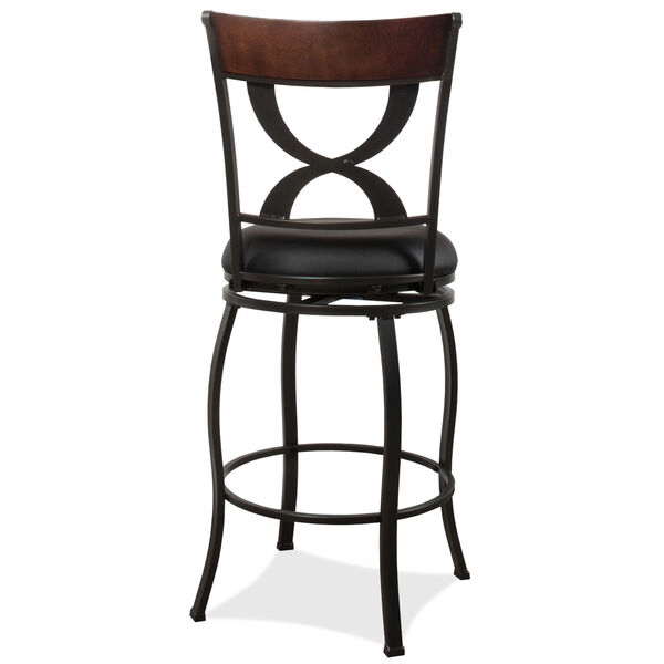 Stockport Pewter Finished Metal and Brown Counter Height Stool, image 2