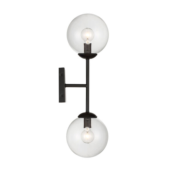 Uptown Black Globe Two-Light Wall Sconce, image 3