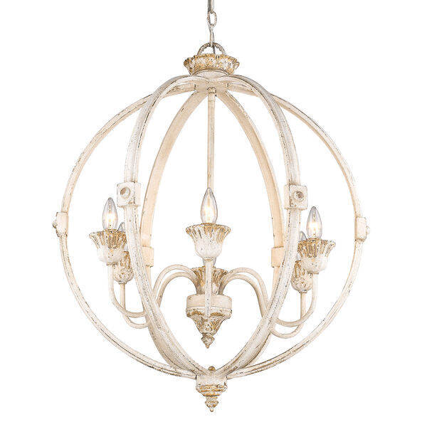 Jules Antique Ivory Six-Light Chandelier, image 3