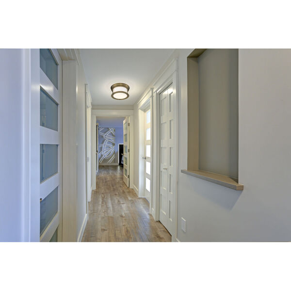 Sonna Heritage Brass Two-Light Flush Mount with Matte Opal Glass, image 2