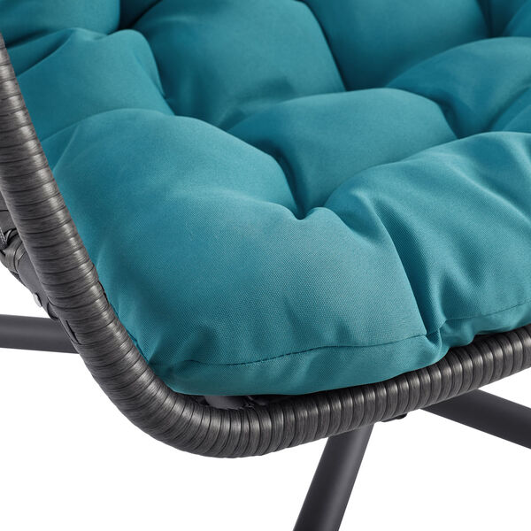 Gray and Teal Outdoor Swing Egg Chair with Stand, image 5