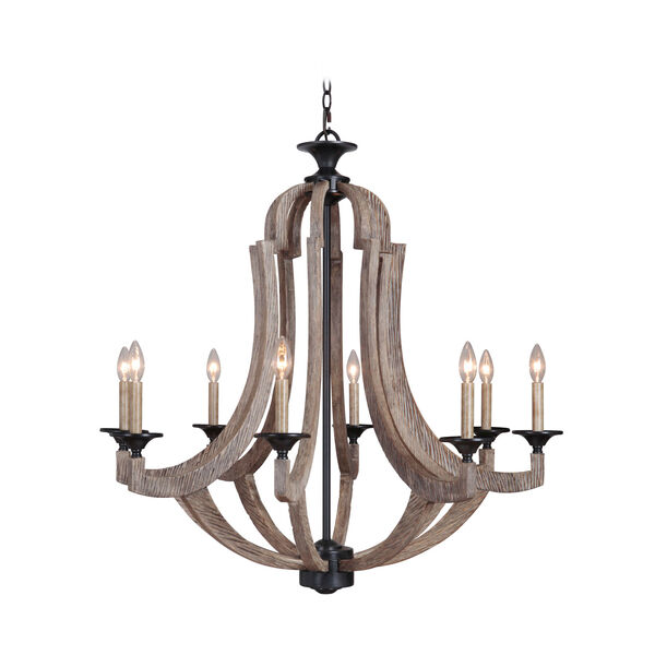 Winton Weathered Pine and Bronze Eight-Light Chandelier, image 1