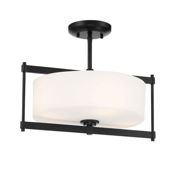 First Avenue Coal Four-Light Semi Flush Mount with Etched White Glass Shade, image 1
