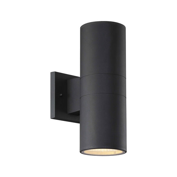 Textured Matte Black LED Outdoor Wall Sconce, image 1