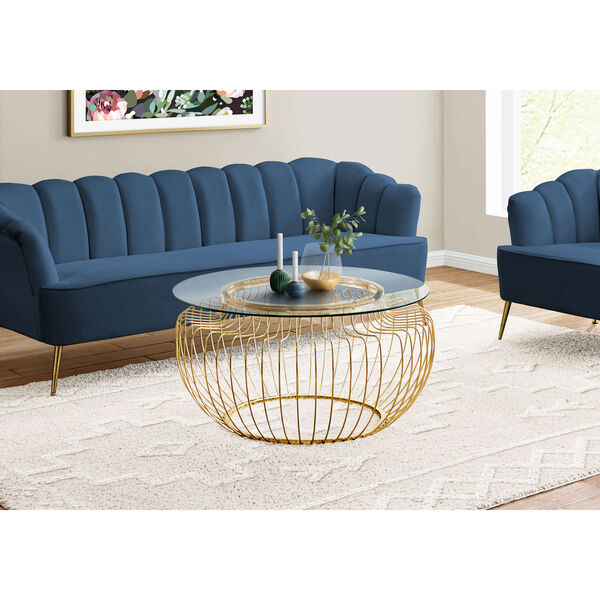 Gold Coffee Table with Tempered Glass, image 2
