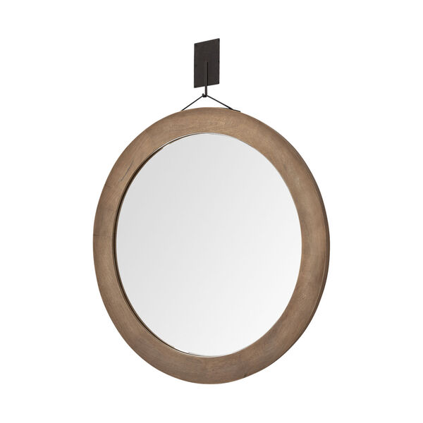 Avram Brown Round Wall Mirror, image 1