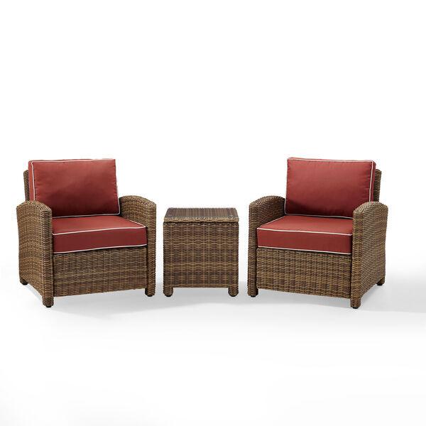 Bradenton Sangria 3-Piece Outdoor Wicker Conversation Set with Cushions, image 1