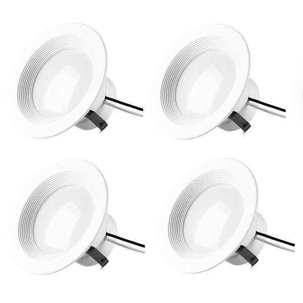 Gaige Matte White Four-Inch 3000K LED Recessed Retrofit Trim, Pack of Four, image 1