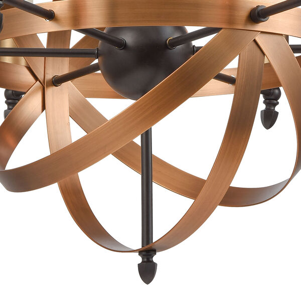 Kingston Oil Rubbed Bronze and Brushed Antique Brass Six-Light Chandelier, image 4
