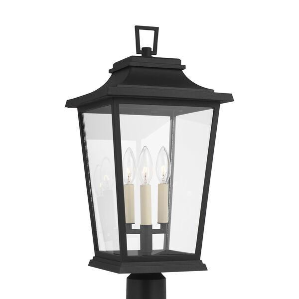 Warren Textured Black Three-Light Outdoor Post Lantern, image 1