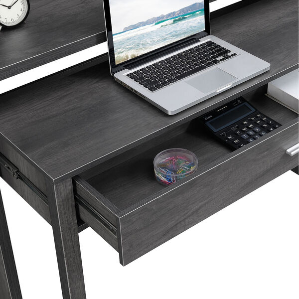 Newport JB Charcoal Gray Sliding Desk with Drawer and Riser, image 4