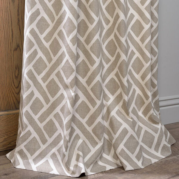 Martinique Taupe 84 x 50-Inch Printed Cotton Curtain Single Panel, image 5
