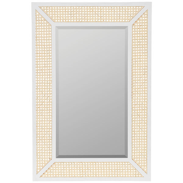 Dani Cane and White Wood 36-Inch x 24-Inch Wall Mirror, image 2