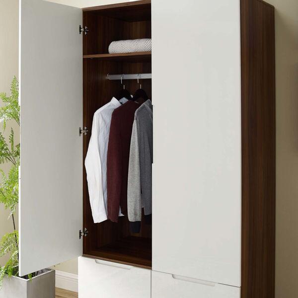 Uptown Walnut White Wood Wardrobe Cabinet, image 6