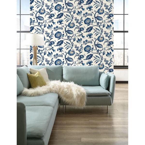 Ashford House Tropics Off-White and Blue Watercolor Jacobean Wallpaper, image 4