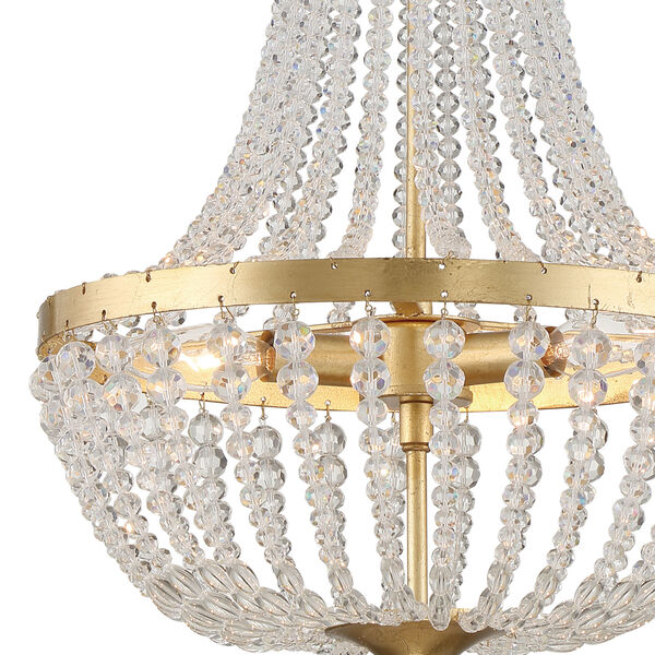 Rylee Antique Gold Three-Light Chandelier Convertible to Semi-Flush Mount, image 3