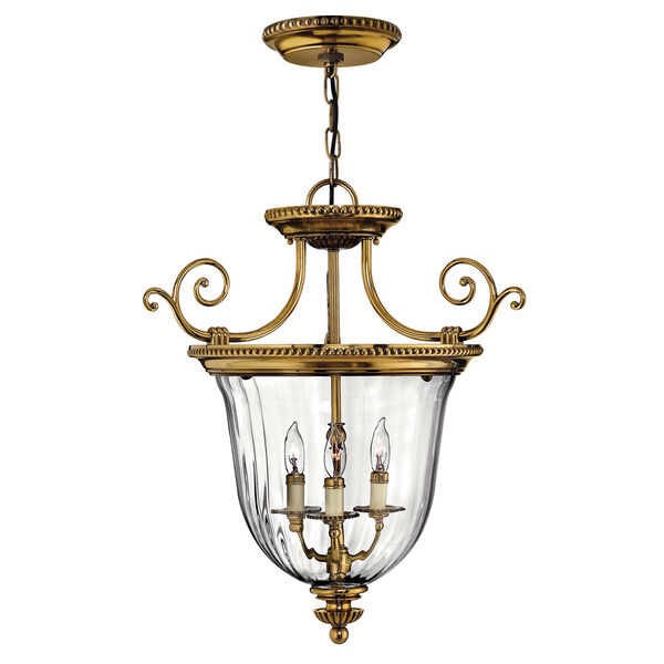 Oxford Small Burnished Brass Urn Pendant, image 1