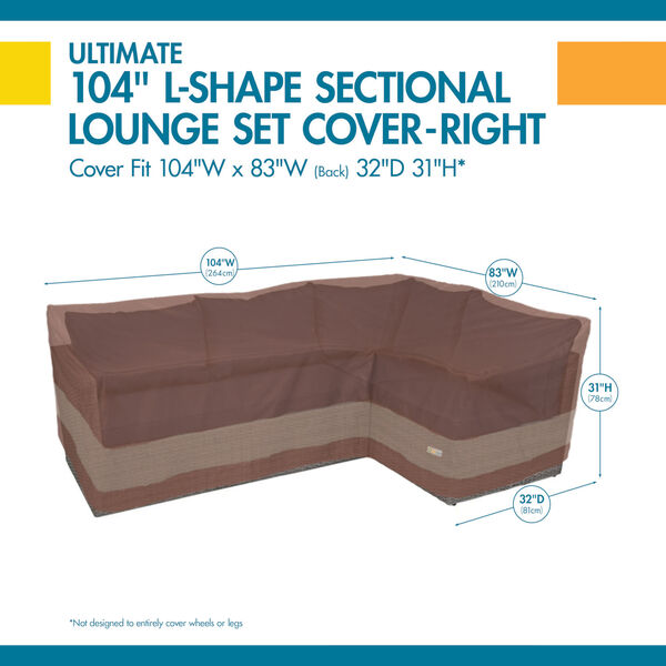 Ultimate Mocha Cappuccino 104-Inch Patio Right-Facing Sectional Lounge Set Cover, image 2