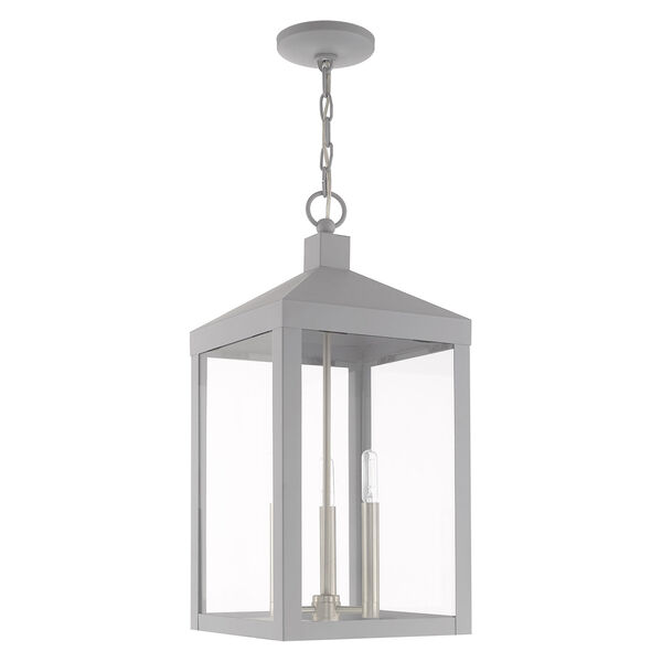 Nyack Nordic Gray 11-Inch Three-Light Pendant Lantern, image 2