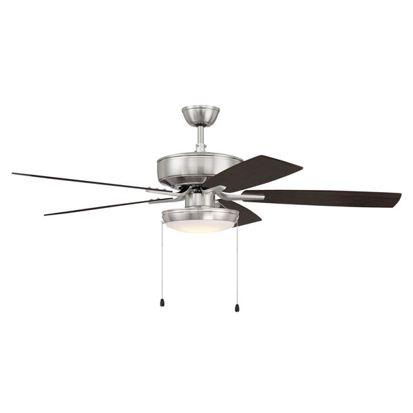 Pro Plus Brushed Polished Nickel 52-Inch LED Ceiling Fan with Frost Acrylic Pan Shade, image 4