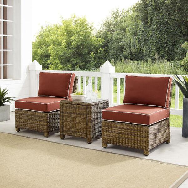 Bradenton Sangria Weathered Brown Three-Piece Outdoor Wicker Chair Set, image 1