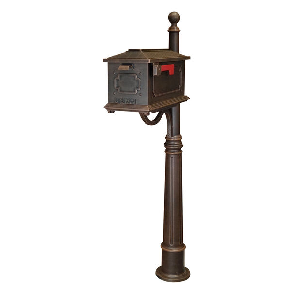 Kingston Copper Curbside Mailbox with Ashland Mailbox Post Unit, image 1