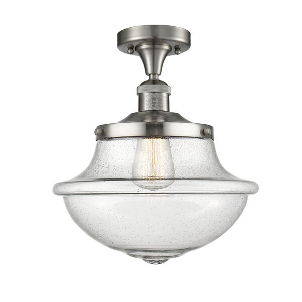 Franklin Restoration Brushed Satin Nickel 12-Inch One-Light Semi-Flush Mount with Seedy Glass Shade, image 1