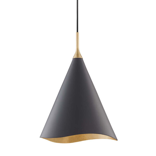 Martini Gold Leaf and Black 13-Inch One-Light Pendant, image 1