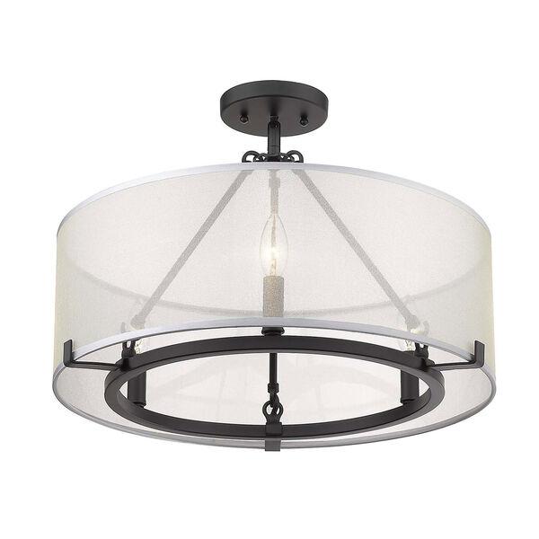 Alyssa Matte Black 20-Inch Three-Light Semi-Flush Mount With Sterling Mist Shade, image 4