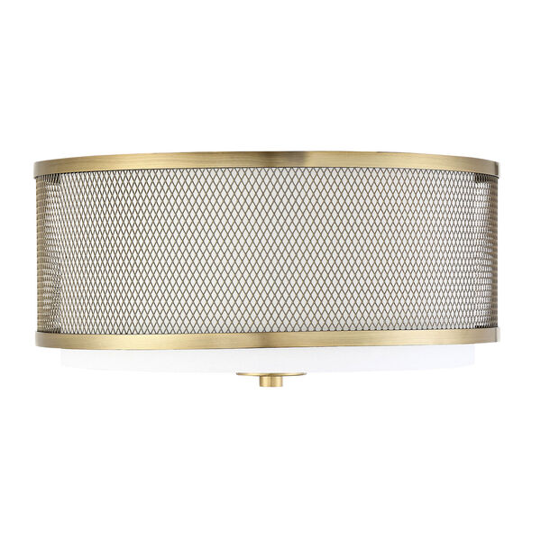 Selby Natural Brass Three-Light Flush Mount Drum  with White Fabric Shade, image 2