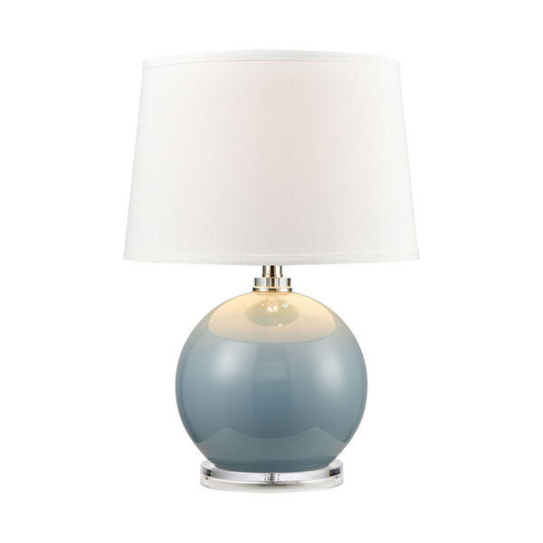 Culland Azure Blue and Polished Nickel One-Light Table Lamp, image 1