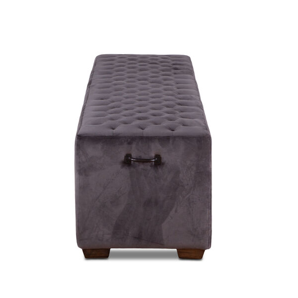 Arabella Asphalt Gray and Antique Black 78-Inch Velvet Bench, image 4