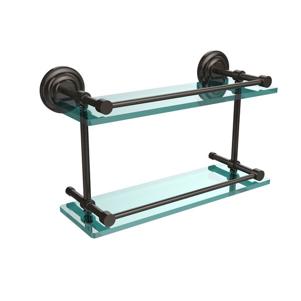Que New 16 Inch Double Glass Shelf with Gallery Rail, Oil Rubbed Bronze, image 1