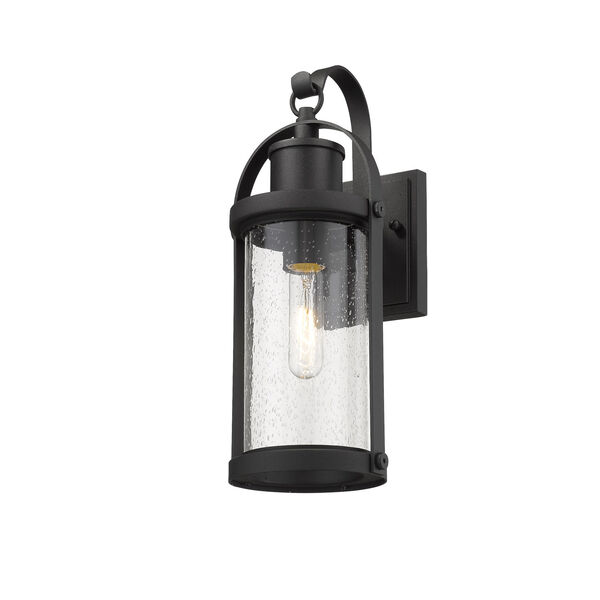 Roundhouse Black One-Light Outdoor Wall Sconce With Transparent Seedy Glass, image 3