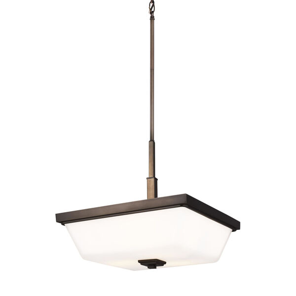Ellis Harper Brushed Oil Rubbed Bronze Three-Light Pendant with Etched White Inside Shade Energy Star, image 4