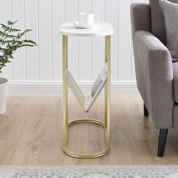 Margo White and Gold Side Table with Magazine Rack, image 3