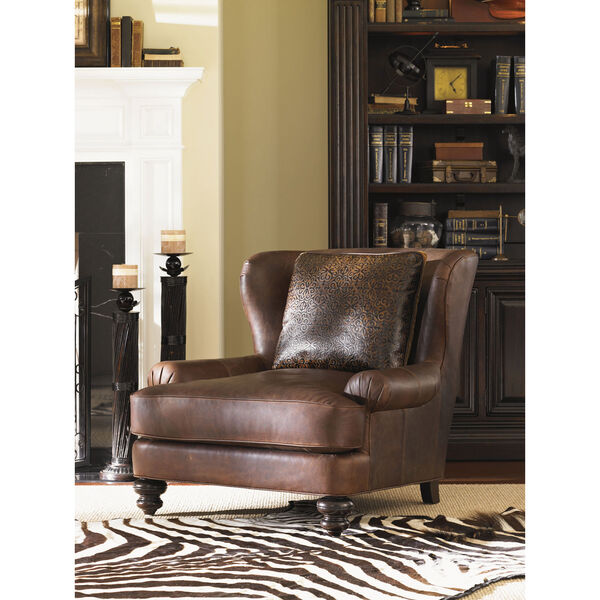 Tommy Bahama Upholstery Brown Kent Leather Chair, image 3