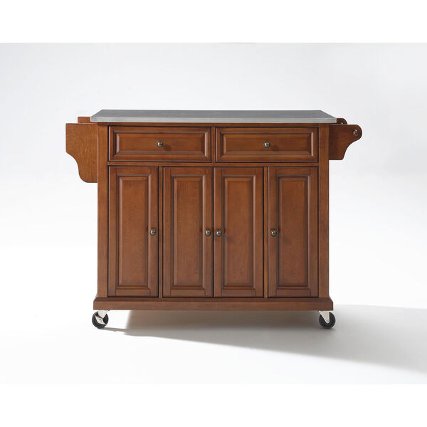 Stainless Steel Top Kitchen Cart/Island in Classic Cherry Finish, image 2