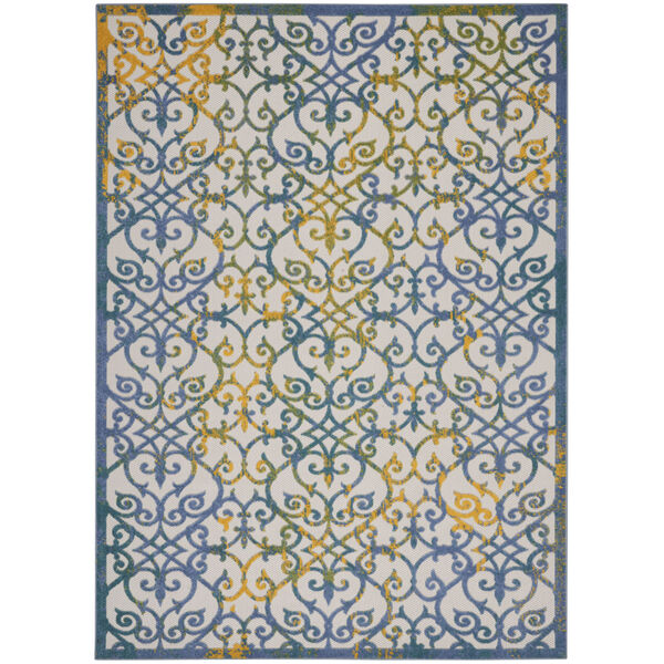 Aloha Ivory and Blue 9 Ft. 6 In. x 13 Ft. Rectangle Indoor/Outdoor Area Rug, image 2