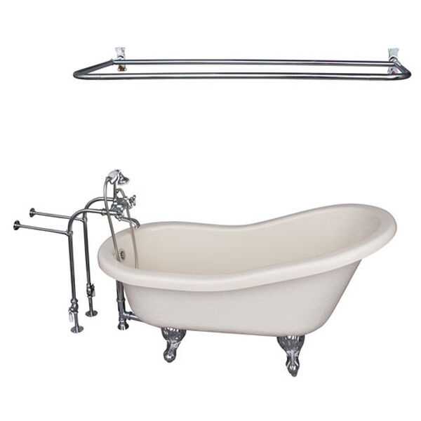 Polished Chrome Tub Kit 60-Inch Acrylic Slipper, Shower Rod, Filler, Supplies, and Drain, image 1