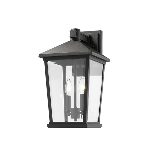 Beacon Black Two-Light Outdoor Wall Sconce With Transparent Beveled Glass, image 1
