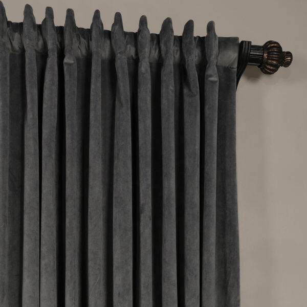 Natural Gray 120 x 100-Inch Doublewide Blackout Velvet Curtain, image 4