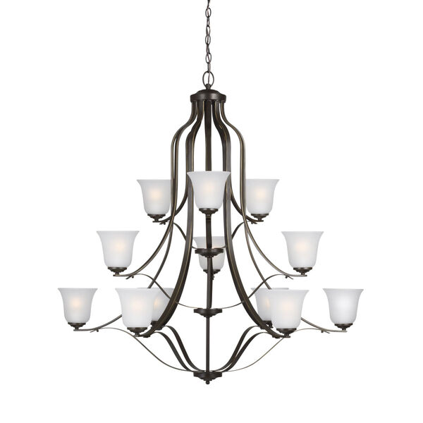 Emmons Heirloom Bronze 12-Light Chandelier with Satin Etched Shade, image 2