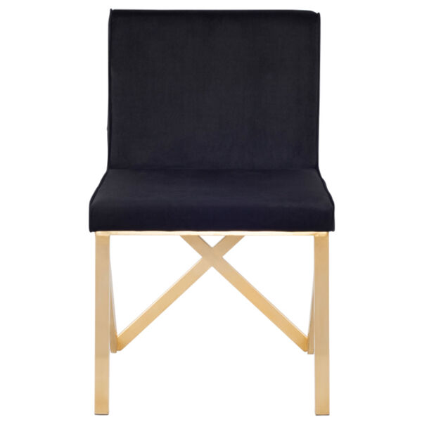 Talbot Black and Brushed Gold Dining Chair, image 2