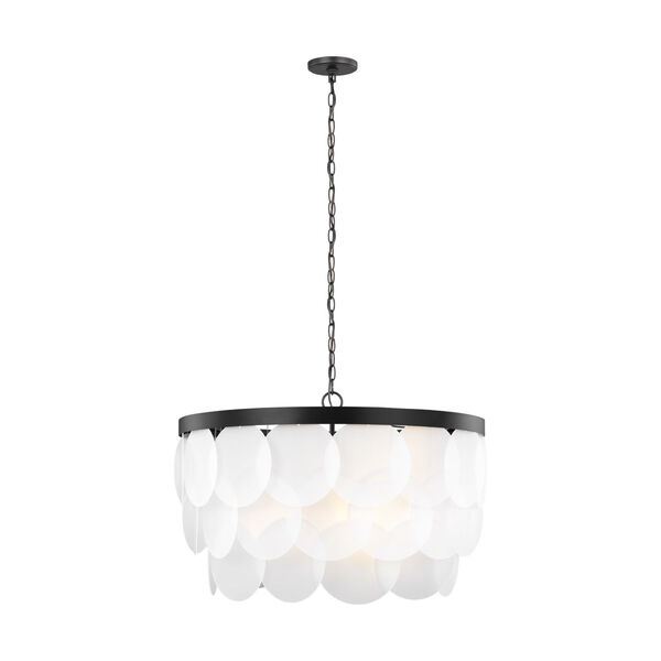 Mellita Midnight Black Eight-Light Pendant with Satin Etched Shade, image 1