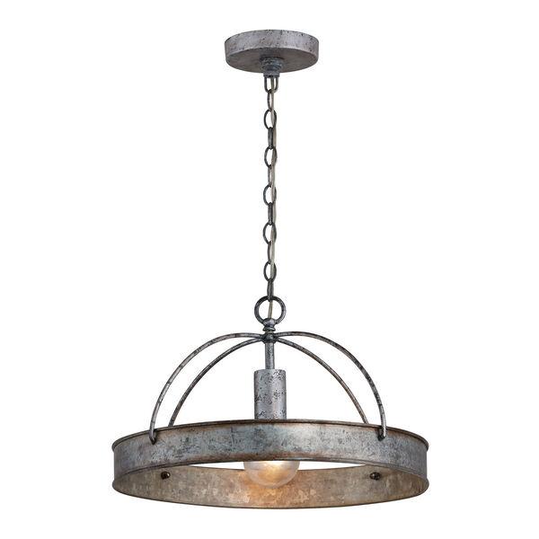 Alvin Antique Galvanized Metal Ring One-Light Pendant, image 1